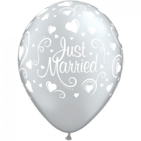 Just Married Sølv Ballong